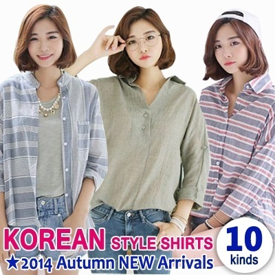 ★10 kinds★ Casual Shirts Collection / Season Essential Item / High Quality / Lowest Price / Hot style in Korea / Stripe Shirt / Check Shirt / Linen Shirt / Soft-touch / Loose-fit /Envylook♥♥
