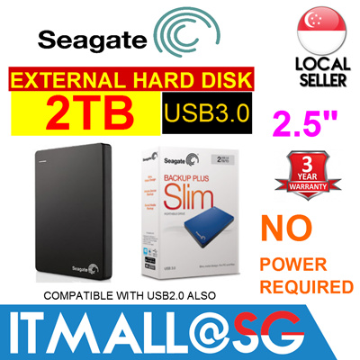 Seagate 1TB BACKUP PLUS SLIM 2.5inch Portable External Hard Disk Drive HDD - 3 Years Warranty - No Power Required - 2014 Latest Model