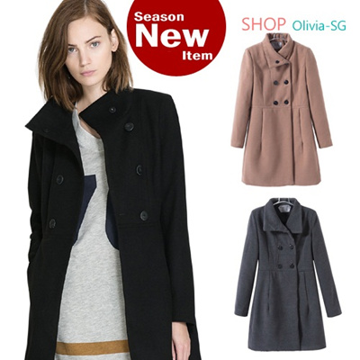 [Olivia] Super Deal Today! Limited Qty! Trendy womens Basic Wool Coat! Japan No.1 Hit Items!