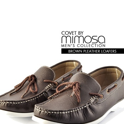 *Covet By Mimosa* Mens Brown Pleather Loafers