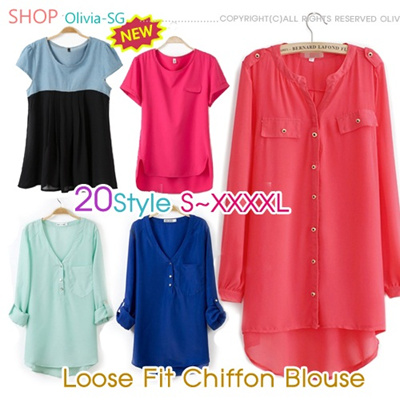 [17/4update]New Arrivals April 2014 S-XXXXL SIZE The Newest European Style Loose Fit Chiffon Plus Size Blouse/Tops