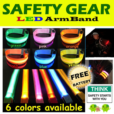 LED ArmBand - Safety Gear - Perfect for Runner Cyclist Clubbing Events [FREE BATTERY]