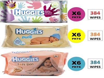 Huggies Baby Wipes 64wipes/Pack*6Packs [Total in 384Wipes!]
