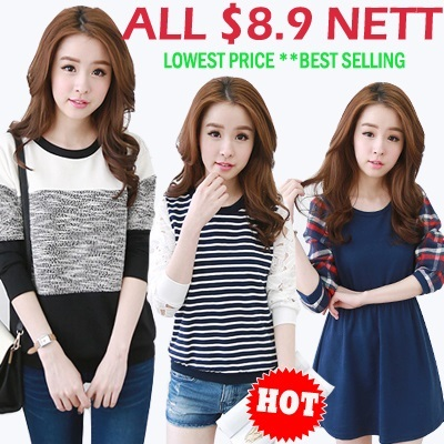 ALL At $8.9 Nett New summer autumn winter comfort lace chiffon cotton Dress/Top/Blouse/Cardigan/Legging