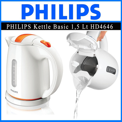 Philips Kettle HDHD4646 1.5 L 2400 W Water level indicator Vermillion-orange Hinged lid