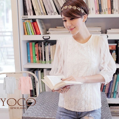 YOCO - Korean- Lace Top With Sheer Puff Sleeves-4009049