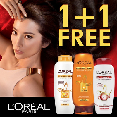 LOreal Paris HairCare buy 1 Get 1 Free !!! 1+1 Offer!!Smooth Intense and Total Repair 5 Shampoo Conditioner Rinse Treatment for Damaged Frizzy Hair