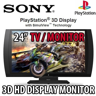 [SUPER OFFER][Sony]24inch PlayStation® 3D Display/Monitor connect to your PS3™ system cable TV box and PC.