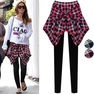 Check Skirt Layerd Leggings_212739 women fashion women clothing