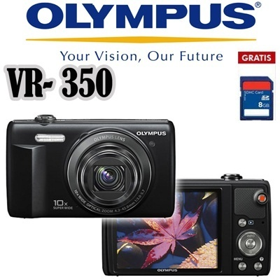 Olympus Camera Digital VR 350 16MP Bonus SDHC 8GB Black and Silver