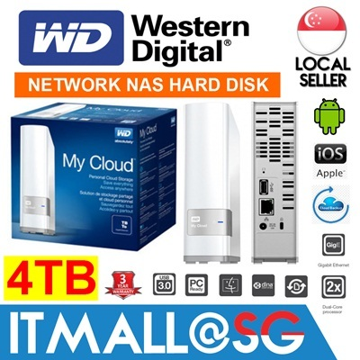 Western Digital My Cloud 4TB NAS Network Attached Storage for Cloud Backup / Android / iOS / DLNA SmartTV - 3 Years Warranty by WD