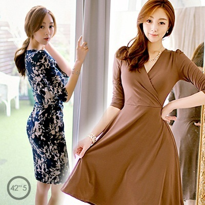 [42nd5 KOREA_Esther Style] 2014 New Dresses / One Piece / Made in Korea / Direct from Korea / Women Fashion / Ladies Wear / Pattern Dress