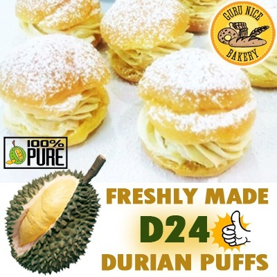 Signature D24 Durian Puffs! Qoo10 EarlyBird Promo $6.90 for 10pcs of Freshly Made Durian Puffs at Guru Nice Bakery!!! 5-6cm in size :)