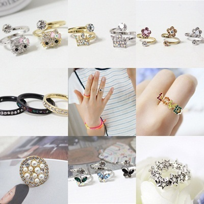 R167-R195 Ring with glitter butterflies hearts stars ribbons cross crown love Miffy Hello Kitty Cubic daisies bearded knuckle ring ring joint the Eiffel Tower Bird