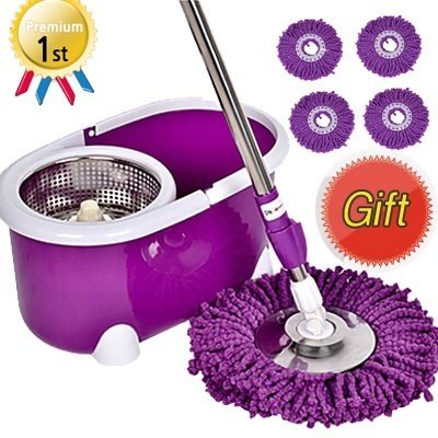 ★New Version★360 Stainless Steel Rotating Spin Mop/Free 4-Mop Heads/Genuine Warranty/Fast shipping★steam mop spray mop Kitchen