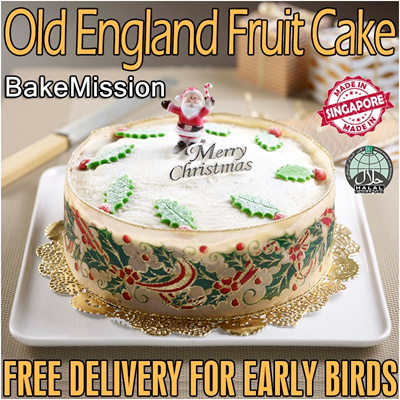 [WGF Gourmet Gift] WGF OLD ENGLAND XMAS CHRISTMAS FRUIT CAKE. Made in Singapore without Alcohol by Veteran Fruit Maestro Bruce Lei of Bake Mission! Free Delivery for Early Birds!