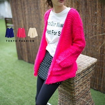 Tokyo Fashion - Bright Color Cardigan With Pockets-3024553