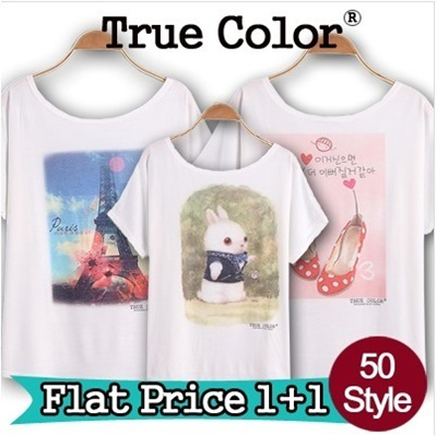 ★Buy1 Get1 Free★1+1 EVENT! Design By Korea True Color Short sleeved T-shirt Unique printing High quality cotton Women T-shirt