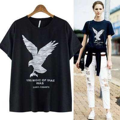 ★FREE SHIPPING★EAGLE PRINT SLUB T-SHIRT-GO1008 women fashion