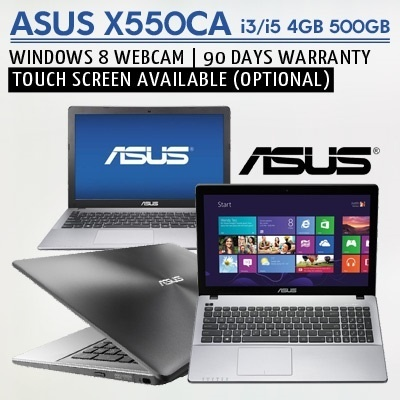 [FACTORY REFURBISHED] ASUS X550CA i3/i5 4GB 500GB WINDOWS 8 WEBCAM || 90 DAYS WARRANTY || TOUCH SCREEN AVAILABLE LAPTOP