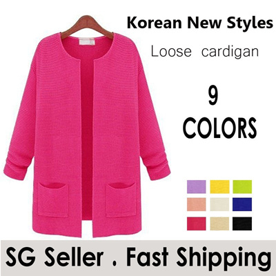 Mid Length loose sweater coat / cardigan A015