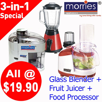 [Super Sale]Juicer / Food Processor / Glass Blender. Morries. Kitchen Essentials. Ideal for house warming. Great for gifts. Get It Now. Less 50%