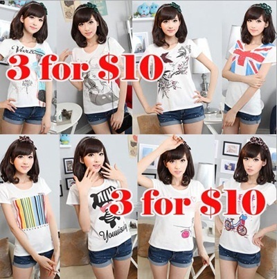 3pcs for $10 Cute T-Shirt / Teenager Adult T-Shirt Clearance Sales