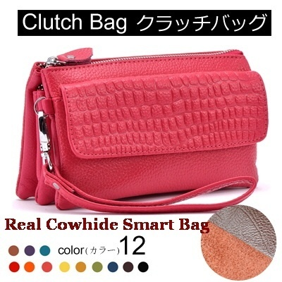 ▶Real Cowhide Smart clutch Bag/ So Many Pockets◀GBC-Multi-way Real Cow Leather Smart Clutch Bags/Clutch bag Cross bag Shoulder bag