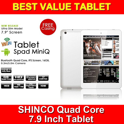 [Best Value Quad Core Tablet] Shinco IPS 7.9-inch Spad miniQ Quad Core 1.6GHz | 1GB RAM | 16GB ROM | Android 4.2 | Dual Camera | Bluetooth | WIFI | 1 Year Local Warranty with Safety Mark