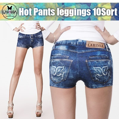 [Larissa]★Cool Jean Hot Pants Leggings★Not real jeans/Eco-friendly dyes/Eco natural/CoolSoft Functional/korea