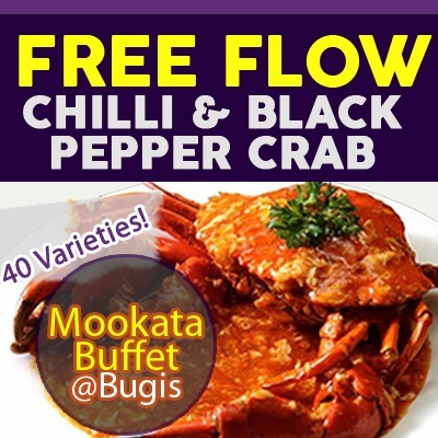 Introductory Special Early Bird Promo! Mookata Buffet with Free flow of cooked Chilli/Black Pepper crab and flower crab.Valid daily at Maggie Thai(since 1998).Located at Bugis! 40 Varieties