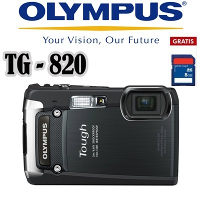 Olympus Camera Digital TG 820 12MP Black Bonus SDHC 8GB Built-in iHS and 5X Optical/10X Super-Resolution Zoom.