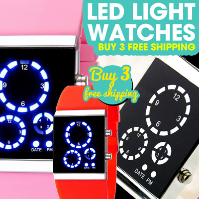 New Arrival LED Light Watches Different Colors Silicone Strap More Lights Women and Men Watches WLED
