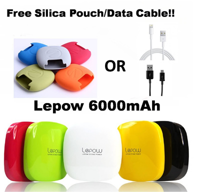 [FREE Pouch Or Data Cable!!] Lepow 6000mAH battery Charger for iPhone 3 3S/4/4S/5/S3/S4/Samsung