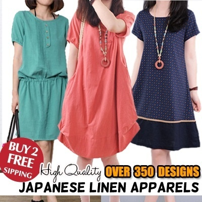 【New Arrivals】【Lowest Price Guarantee】 High Quality Japanese  Linen Apparels Cotton Dress Japan Linen / Plus Size Dress/Pants/Shirt-200 Styles