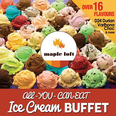 [49th National Day Special] $4.90 Nett per pax for IceCream Buffet at Mapleloft Cafe. Min 2 Pax.