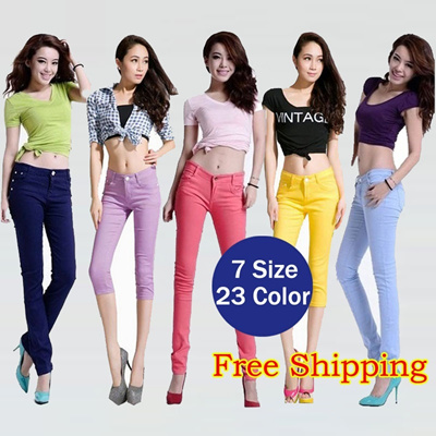 * Free Shipping * $9.90 Nett Price! Candy Colorful Skinny Pants 7 Style 24 Colors