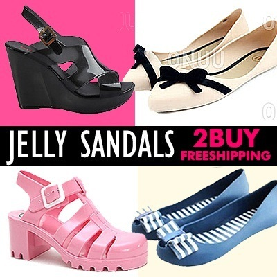 [Buy2 Free shipping]Neon Color Pop heel Jelly Sandals shoes/Euro style/summer shoes/juju