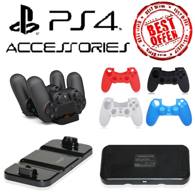 ★Cheapest PlayStation 4 Accessories★ PS4 Dual Shock Charging Staation/Stand/Silicone Controller Case/Sleeve/Joystick Caps/Analog Grips