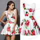 2014 New Summer Fashion Women Hot Sale Casual Slim Vest Cute Flowers Printed White Sleeveless Bandeau Floral Tank Cute Dress