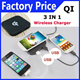 2014 Hot!3 In 1 Black Qi Standard Wireless Charger for Nokia Lumia 920/ Lumia 820/LG Nexus 4//Samsung Note 2