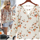 [buy 2 free shipping]New Arrival! European Style Lady Fashion Chiffon Blouse/Long Sleeve Tops/Dress/Pigeon Pattern Blouse/Long Sleeve Chiffon Blouse/ Size S-XL