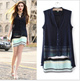 2014 New Fashion Ladies Elegant Color Striped V-neck Two-piece Dresses Vintage Casual Quality Brand Designer Dress