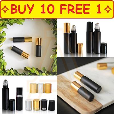 ⭐️Buy 10 Free 1 ⭐️Refillable 5ml/10ml Matte Black Roller Cosmetic Bottle  for Essential OiL