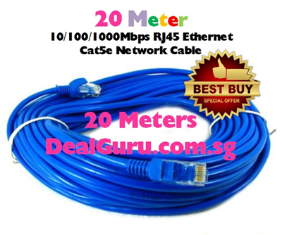#01 ♢ 20 Meters - Cat5e Ethernet Network Cable ♢ RJ45 Ethernet LAN Cable ♢