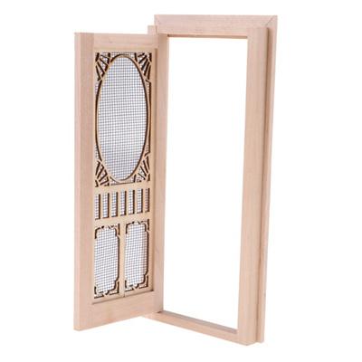 Qoo10 1 12 Dollhouse Miniature Wood External Hollow Screen Door