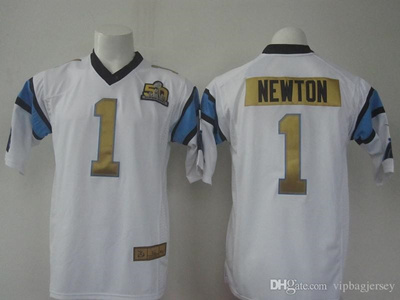 best website 9618b cc6cb #1 Cam Newton Super Bowl 50th Football Jerseys New Arrival Gold Number  Football Shirts Fashion Athle
