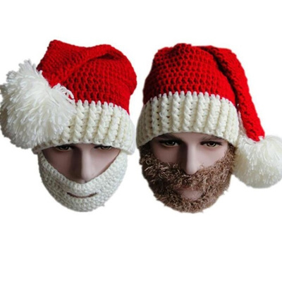 9be8697cd85 1 pc beard and Beanies mask Christmas Hat gift Face care Striped winter  vogue knit Santa
