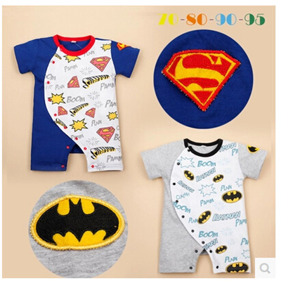 54cb58a015ea9 【1 /set】 Male and female baby clothes baby bat shape Romper Superman Goku