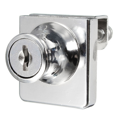 1 Set Single Glass Cabinet Door Lock Cam Key Showcase Display Locking with  2 Keys Zina alloy High Quality